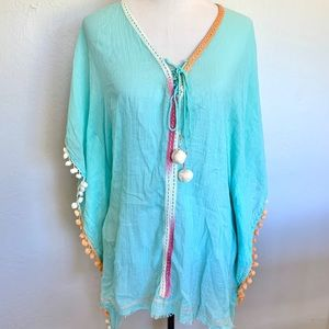 Z&L Turquoise Beach Tassel Coverup NWT